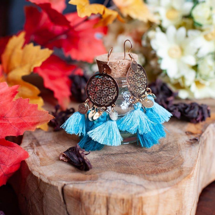 boho earring flower of life