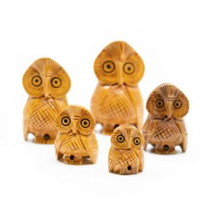 Wooden Statue Owl Family (5 pieces)