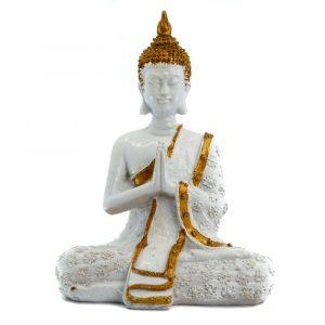 Thai Buddha Statue Meditating Polyresin White - 14 x 9 x 20 cm