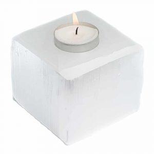 Tea-light Holder Gemstone Selenite Cube approx 1100 grams (8 x 8 cm)