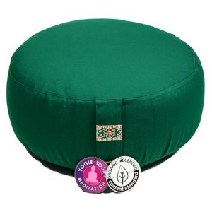 Yogi and Yogini Meditation Cushion Round Cotton Green - 33 x 17 cms