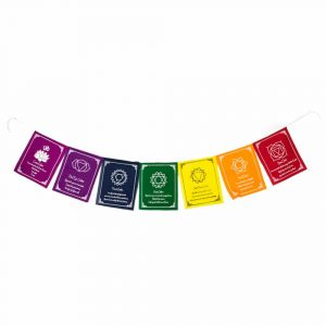 Prayer Flags 7 Chakras Affirmations Cotton with Text - 180 cm